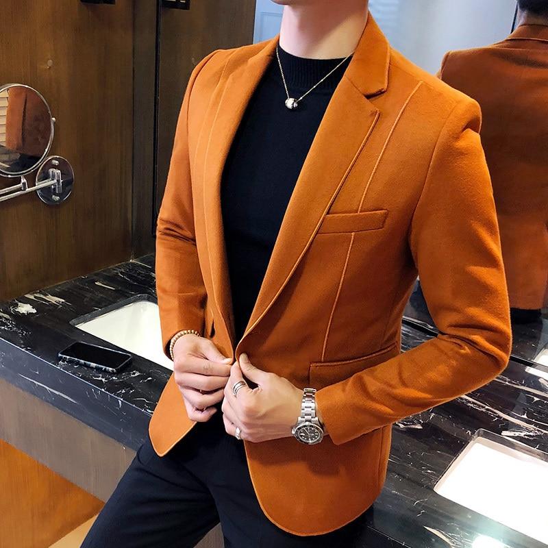 ウール混紡ブレザー男性 3 無地、黒グレーオレンジビジネスカジュアルメンズヴィンテージブレザースーツのジャケットの男性男性のスーツのコート 5xl