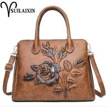 ФОТО women designer leather hobo handbag large embroidery embossing printing retro floral handbag luxury tote bag high quality bolas
