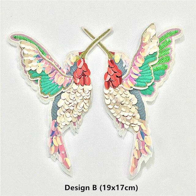 Tienda Online 5 Par 19x17 cm lentejuelas colibrí pájaro del remiendo ...