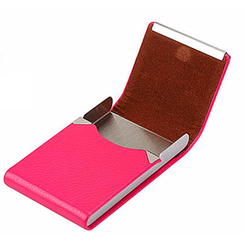BISI GORO 8 color slim business credit card case Stainless Steel PU leather porta tarjetas Creative name card cigarettes case in Card ID Holders from Luggage Bags