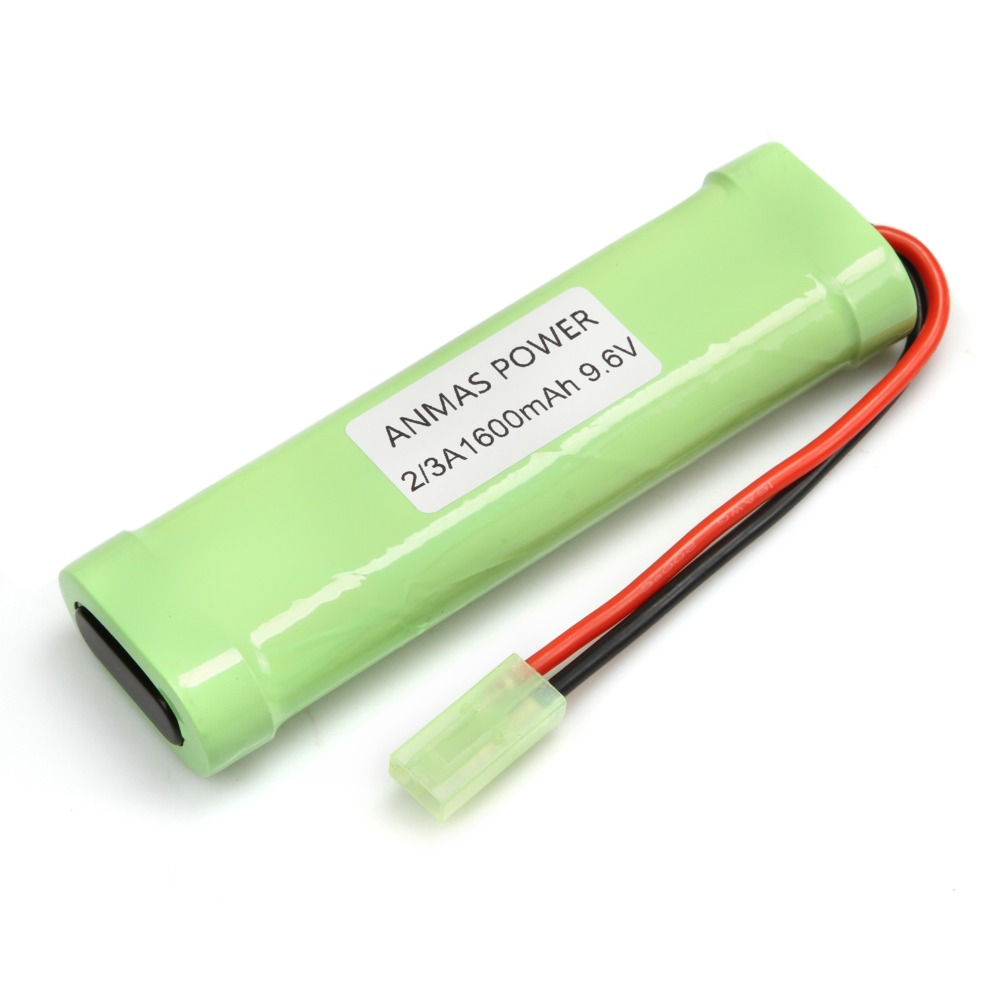 9.6v 1600mah Flat Pack Rechargeable Battery Pack Nimh 2/3a For Rc Car Toy Airsoft Gun With Mini Tamiya Connector Jade White Battery Packs