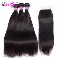 Upretty Brazilian Hair Weave Straight Hair Bundles With Closure Remy Human Hair 3 Bundles With 5x5 Lace Closure Hair Extensions