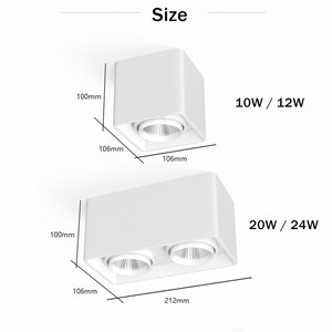 Image 4 - [DBF]Square White/Black No Cut Surface Mounted Ceiling Downlight High Power 10W 12W 20W 24W Ceiling Spot Light 3000K/4000K/6000K