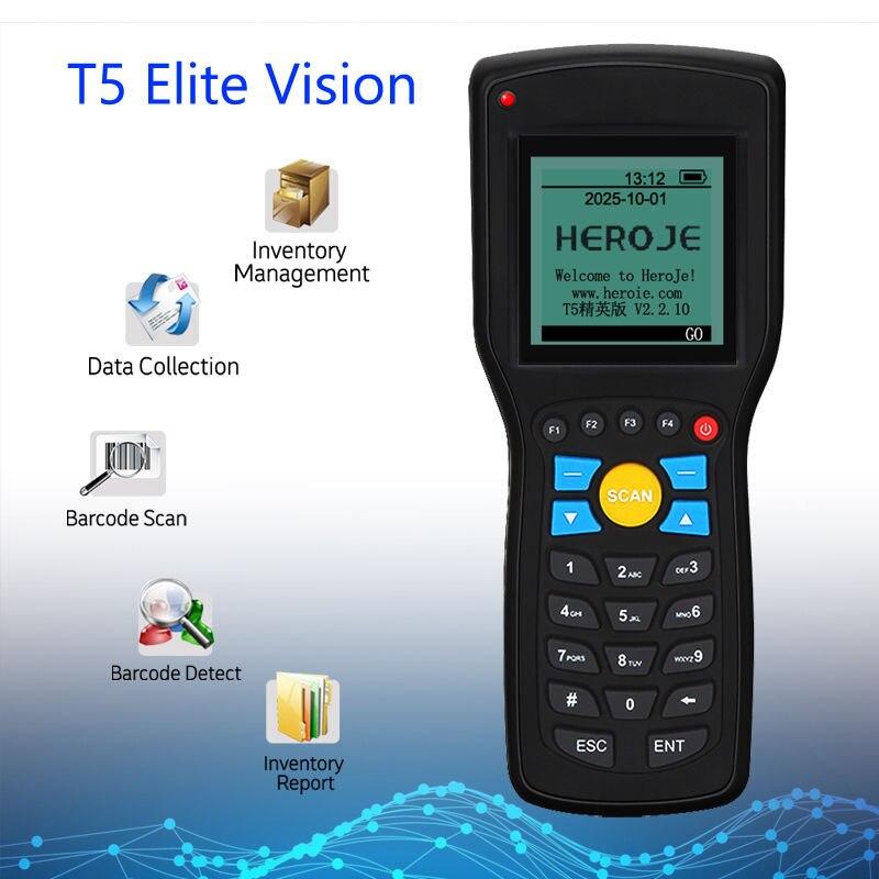 Heroje T5 Elite Version Données Gestion Des Stocks 1D EAN13 UPCA/E Laser Barcode Scanner USB 433 MHz Sans Fil 1D Scanner Bar Code