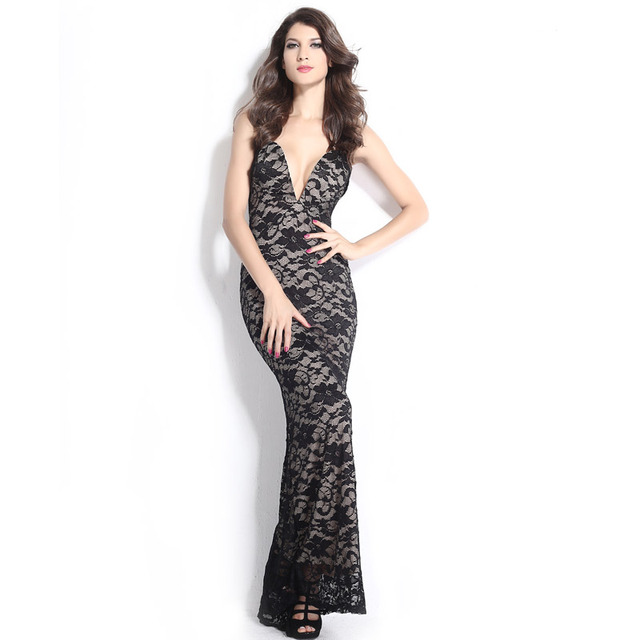 432fee38b76d9 Black Lace Nude Illusion Plunging V Neck Strapless Gown prom fashion  one-piece dress tube top V-neck lace embroidered dress tank
