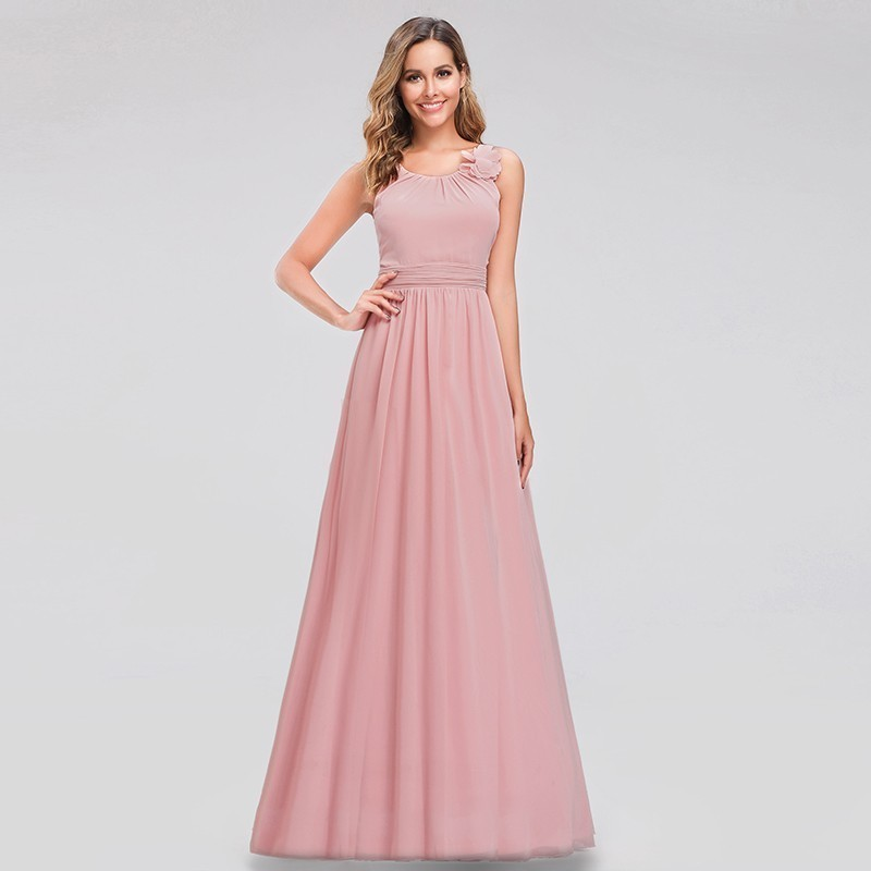 Elegant Chiffon Evening Dresses Long A-Line O-Neck Sleeveless Flower Pink Prom Gowns Formal Dresses Vestidos De Fiesta De Noche