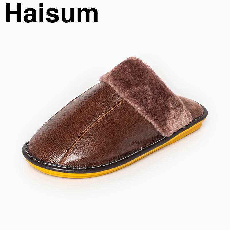 Men 's Slippers Winter genuine Leather Home Indoor Non - Slip Thermal Slippers 2018 New Hot Haisum H-8003 men s slippers winter pu leather home indoor non slip thermal slippers 2018 new hot haisum h 8007