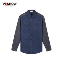 Viishow 2016 אופנה חדשה ג 'ינס גברים מותג בכושר רזה חולצה ג' ינס מזדמן ג 'ינס חולצת הבוקרים שרוול ארוך כותנה חולצות גברים