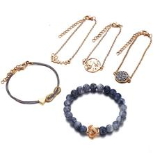 HIYONG 5pcs/set Charm Beads Bracelet Set Heart Handmade Bohemian Gold Color Natural Stone Adjustable Rope for Lovers