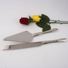 Top grade stainless steel 18/8 cake knife server set for wedding metal high quality crystals flatware