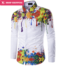 Новая мужская модная одежда повседневные лацканы Длинные рукава рубашка узкого кроя человек личность рубашка большие размеры M-XXXL Топы