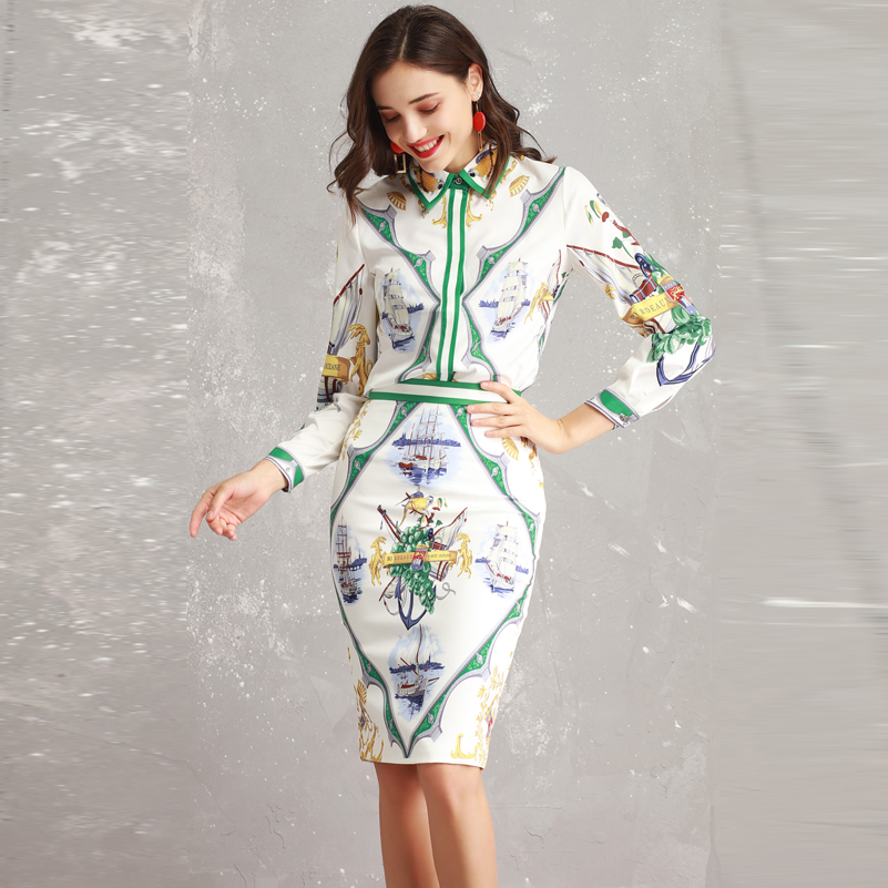 High quality 2019 designer Fashion shirt set Women s Long Sleeve Beading Shirt and Print Bodycon