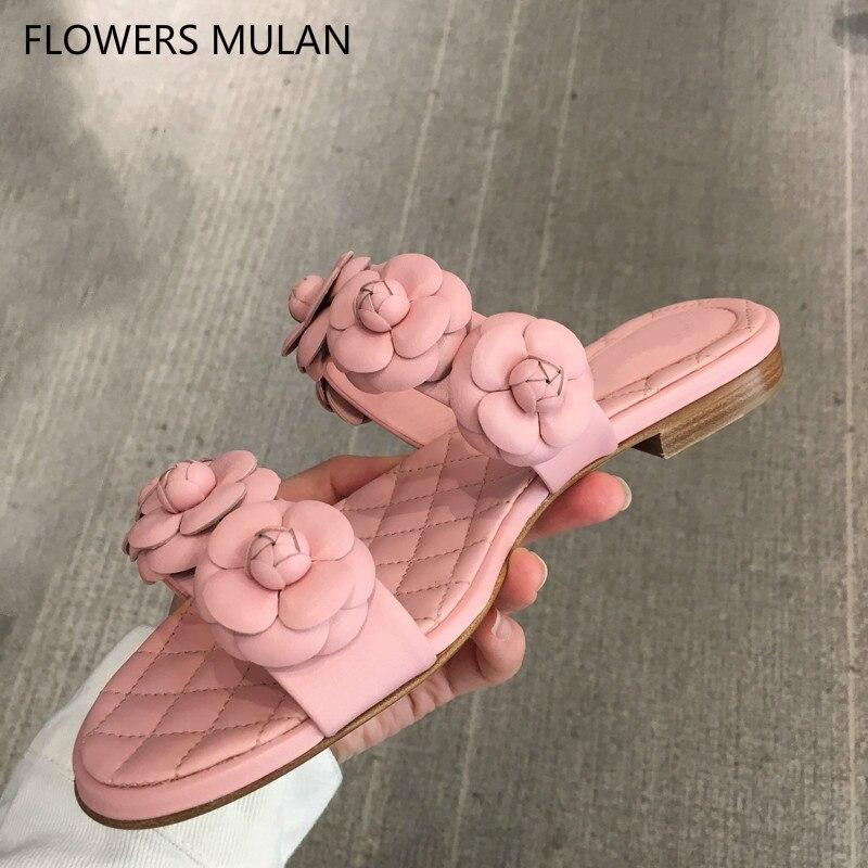 Новый Камелия две пряжки верх слайды Для женщин розовый серый тапочки на плоской подошве женская пляжная обувь повседневная обувь для отды...
