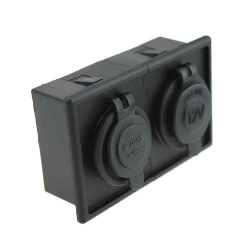 12V/24V Cigarette Lighter Led Power Socket & 3.1A Dual USB Port with Housing Holder Panel for Car Boat Truck RV