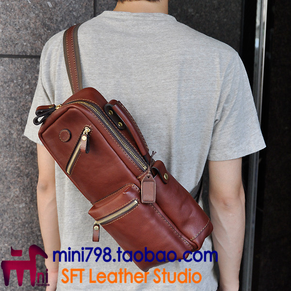 MINI DIY chest bag drawing version manual leather pattern drawing paper BXK-37 men bag v ...