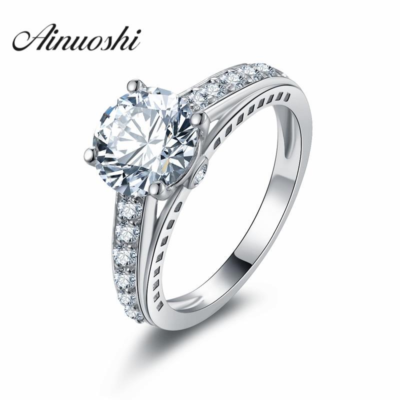 AINOUSHI haute qualité 2 carats SONA anneaux de mariage 925 bijoux en argent Sterling bague de fiançailles pour les femmes