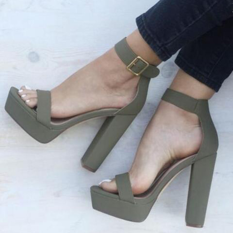Rome Style Women Thick Heels Sandals Peep Toe High Platform Summer Dress Shoes Ankle Strap Buckle Chunky Heels Sandals women peep toe sandals summer platform wedge invisible high heels boots rome style side zip casual shoes woman silver blue white