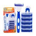 Baili value pack hombres portátil manual de afeitar 1 mango + 5 hojas de afeitar de seguridad de afeitar doble maquinillas de afeitar hombres