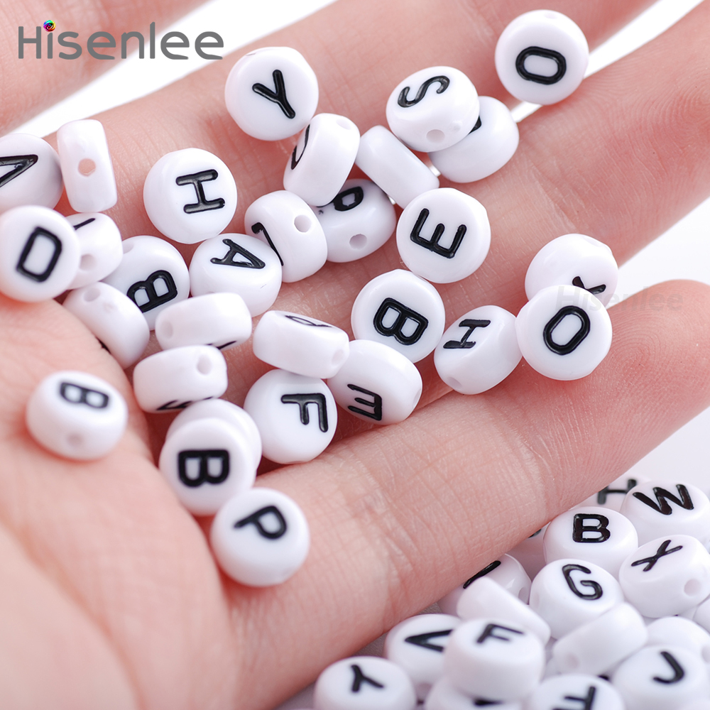 "Hisenlee 2017 High Quality 300Pcs Mixed Acrylic Flat Round White Alphabet Beads ""A-Z"" Letter Spacer Beads 4x7mm"