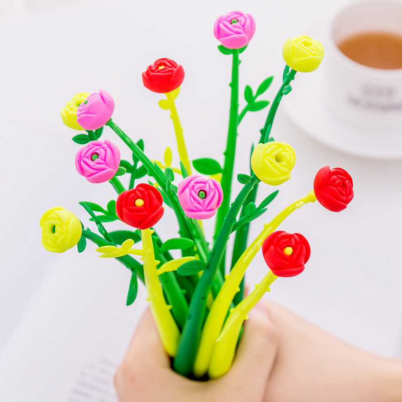 Buy 1 Get 1! Total 2Pcs! Beautiful New Branch Planting Kawaii Cute Lovely Flower Floral Gel Pen Office Gift Stationery Pen E0732