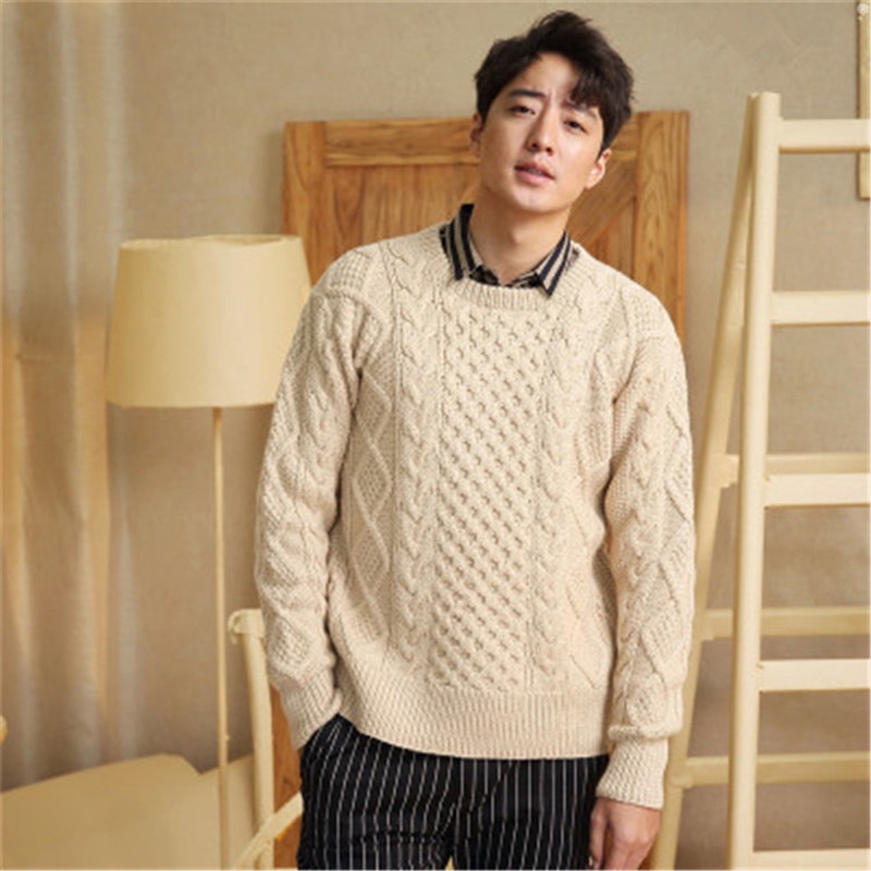 100%hand Made Pure Wool Oneck Knit Men Vintage Solid Thick H-straight Pullover Sweater One&over Size