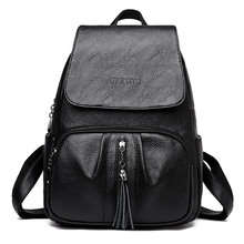 Fashion Rucksack Women Casual Travel Backpack Quality PU Leather School Bags for Teenage Girls with Tassel Female Black Backpack стоимость