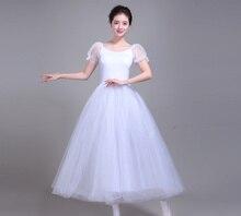 Professional Ballet Leotards For Women Adult Romantic Tutu Rehearsal Long Tulle Practice Skirt Dress Girl Kids