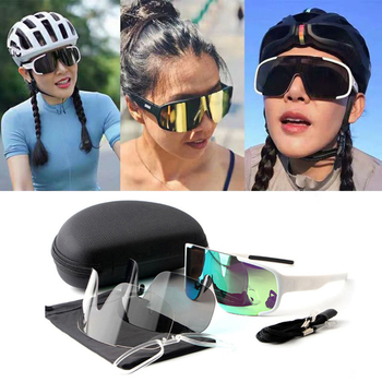 Cycling Glasses 3 lens Outdoor Bike Bicycle Goggles Sport Cycling Sunglasses Brand Design Men Women Cycling Eyewear aielbro cycling sun glasses outdoor sports bicycle glasses men women bike sunglasses 29g goggles eyewear 3 lens