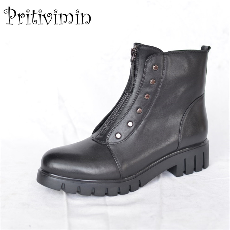 2017 winter ladies warm lined short ankle boots women genuine leather thick low heel shoes autumn footwear Pritivimin FN47