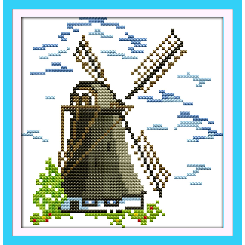 Rational Everlasting Love Christmas Small Windmill Ecological Cotton Chinese Cross Stitch Kits Stamped 11ct 14ct New Year Promotion Price High Quality Package Home & Garden