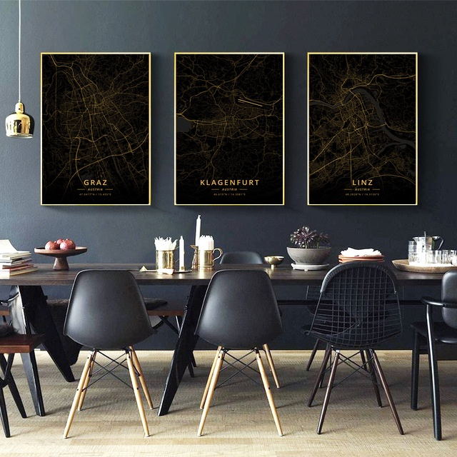 Graz Linz Vienna Austria City Map Gold Map Canvas Art Print Wall Pictures for Living Room No Frame
