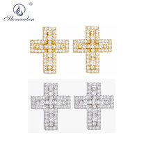 Slovecabin 925 Sterling Silver Double Cross Stud Earring For Japan Men Women Fashion Jewelry Making Gift Wholesale 2 Style Gold