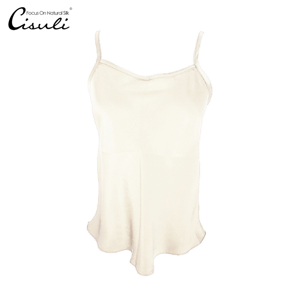 CISULI 100 Silk Camisole Natural Silk Satin Women Camisole With Adjustable Strap Summer Top Champagne Color