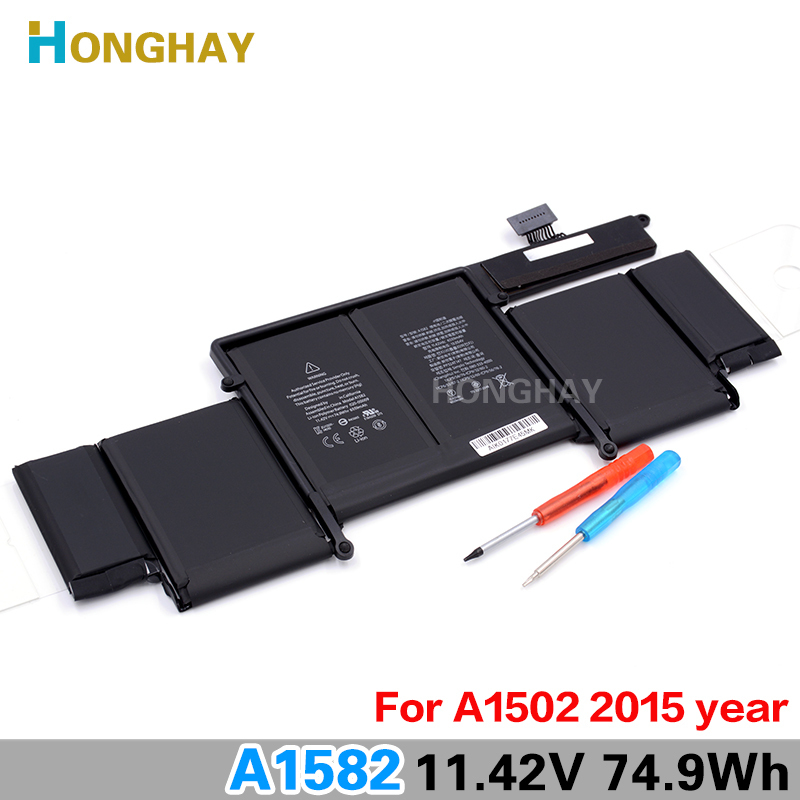 Honghay Original A1582 Laptop Battery for Apple MacBook Pro 13 Retina A1502 2015 year 11.42v 74.9wh 6559mah lmdtk new laptop battery for apple macbook pro retina13 inch a1502 2013 2014 year a1493