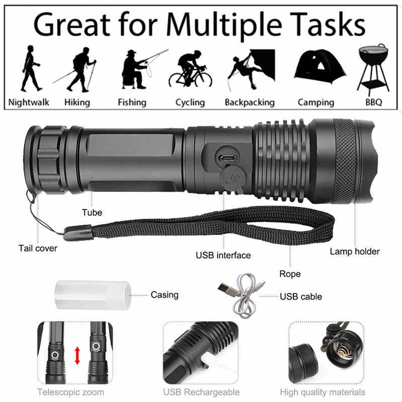 6000 lúmenes lámpara xhp502 linterna más potente usb linterna LED con zoom xhp50 18650 o 26650 batería recargable caza