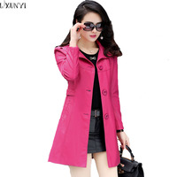 5XL 2016 Slim Lapel Long Leather Trench Spring Genuine Leather Jacket Women Autumn Middle Aged Single