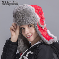 MS.MinShu Natural Rabbit Fur Trapper Hat Russian Rabbit Fur Hat Skiing Cap Winter Warm Earflap Hat Genuine Rabbit Fur Bomber Hat