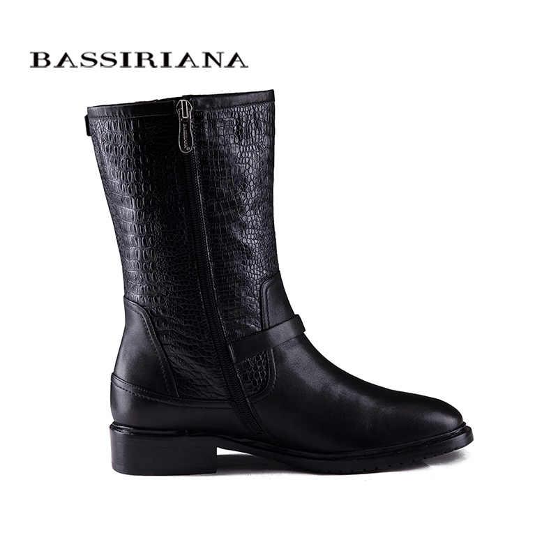 2017 khởi động mùa đông mới với lông Chính Hãng giày da phụ nữ kích thước Lớn 35-40 chất lượng Cao giày cho womens BASSIRIANA