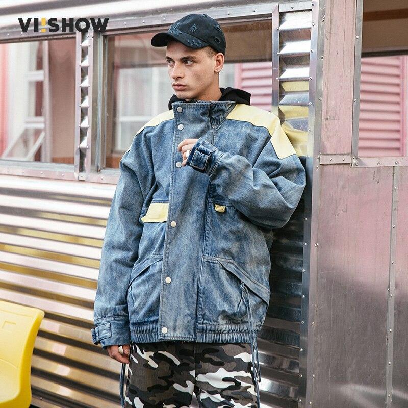 4452c15085c VIISHOW new solid black denim jacket men brand-clothing casual denim coat  male top quality stretch oversize outerwear JC1031181-