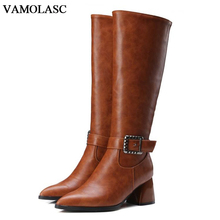 VAMOLASC Women Autumn Winter Leather Mid Calf Boots Pointed Toe Zipper Hoof Med Heel Boots Platform Women Shoes Plus Size 34-43
