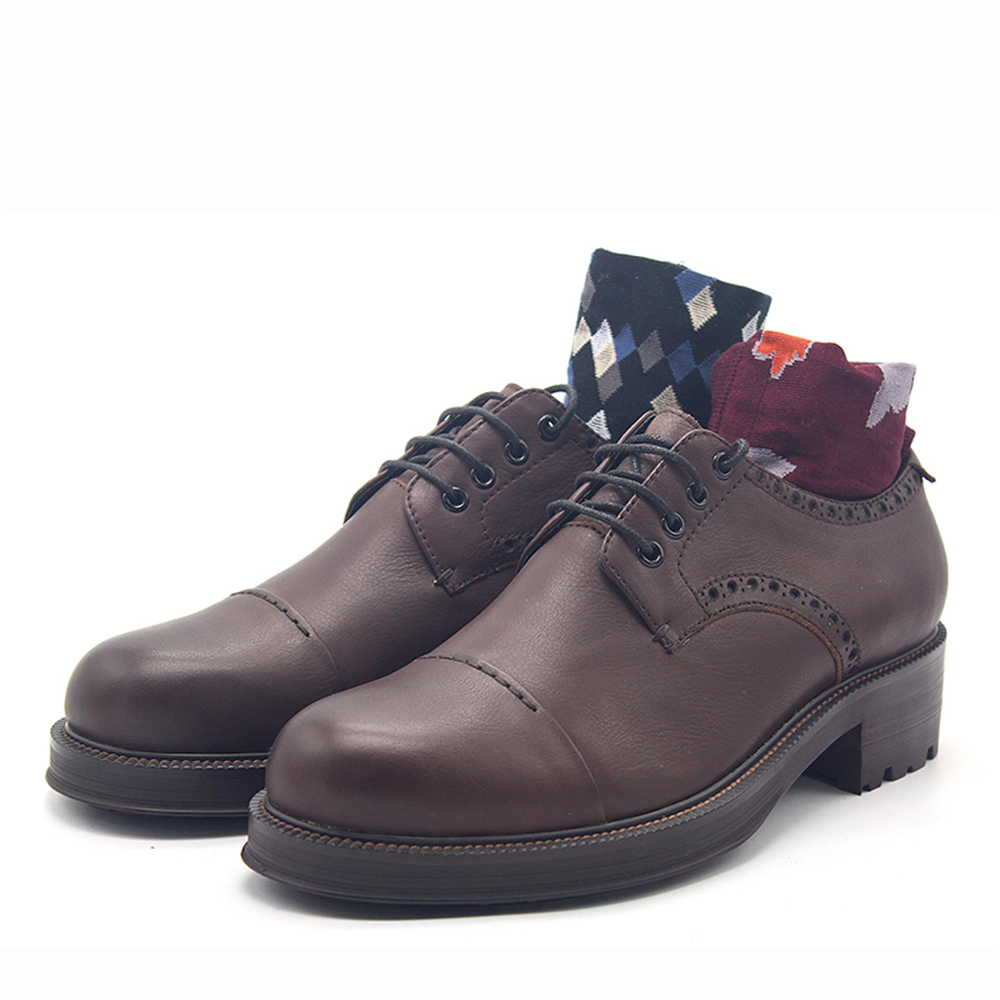 2019 spring new zapatos de hombre brown round head derby shoes brown oxford shoes