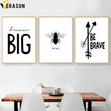 Black White Bee Arrow Dream Big Minimalist Wall Art Canvas Painting Nordic Posters And Prints Wall Picture For Living Room Decor(China)