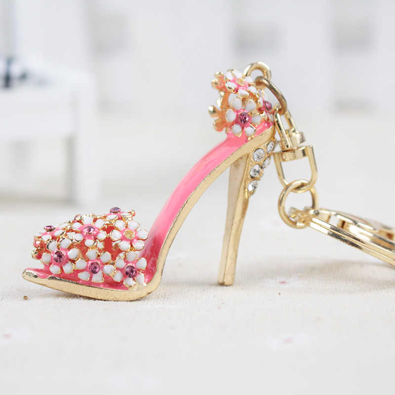 Rhinestone Keychain Purse Pendant Bags Cars Shoe Ring Holder Chains Key Rings For Women Gifts Women Crystal High Heeled