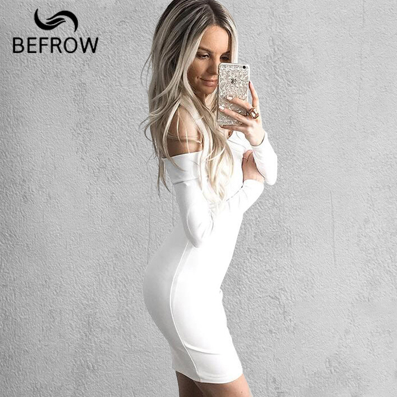 BEFORW mujeres Sexy vestido moda la palabra hombro verano otoño vestido Vestidos talla grande mujeres ropa blanco negro Vestidos