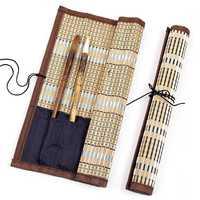 Portaescobillas bolsa enrollable de bambú caligrafía estuche de bolígrafo Paquete de cortina para suministros de arte