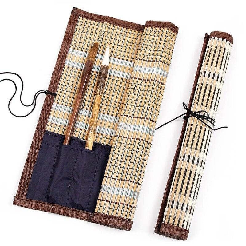 Porte-pinceau de peinture sac à roulettes en bambou étui à stylo calligraphie paquet de rideau pour fournitures d'art
