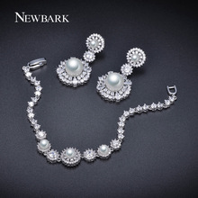 NEWBARK Simulated Pearl Wedding Jewelry Set Austrian Crystal 1 PCS Bracelet 1 Pair Earings Jewelry Party Beads Bridal Set