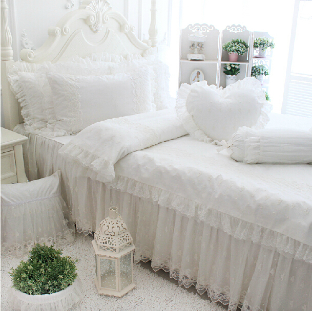 Princess lace 100% cotton bedding sets,girl twin full queen king european luxury bed clothes bedshirts pillow case duvet cover