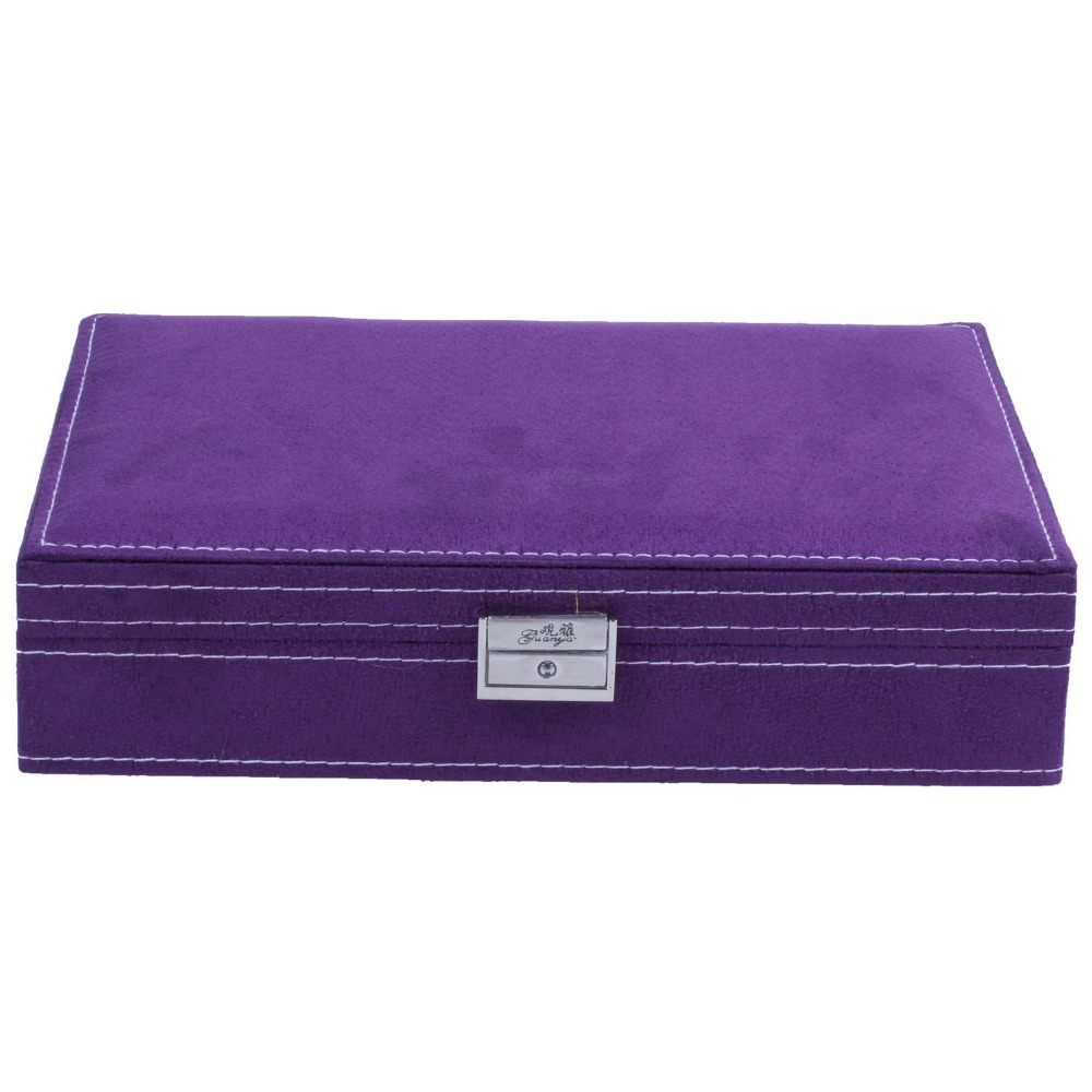 Image 3 - Lockable Wooden Capacity Large Jewelry Carrying Cases Purple Color Velvet Material Jewelry Storage Case Earring Ring Display Box-in Jewelry Packaging & Display from Jewelry & Accessories