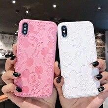 05ffff260cb Amor feliz Disneys Mickey Mouse Funda de cuero para iPhone 7 7 6 6 S 6 S  Plus X XS X MAX XR de moda lindo de dibujos animados su.